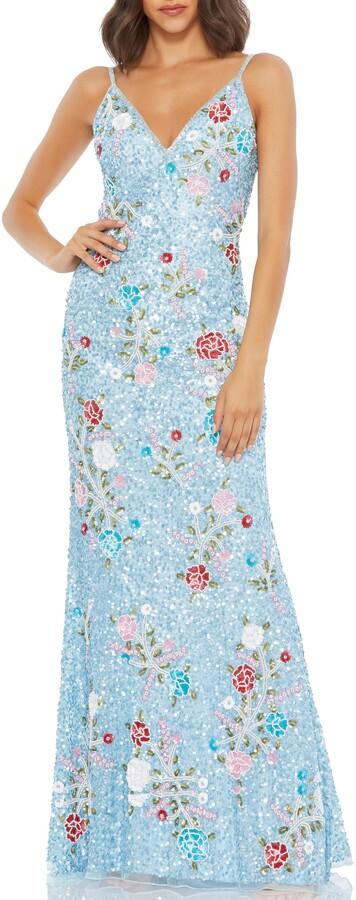 Mac Duggal Floral Sequin Sheath Gown