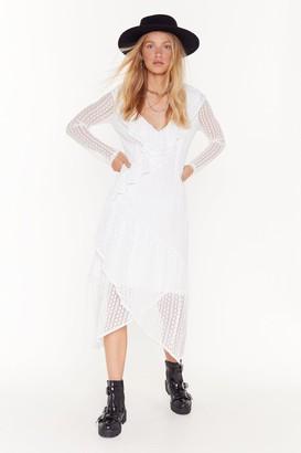 Nasty Gal Womens Lace That Feeling Ruffle Midi Dress - white - 4
