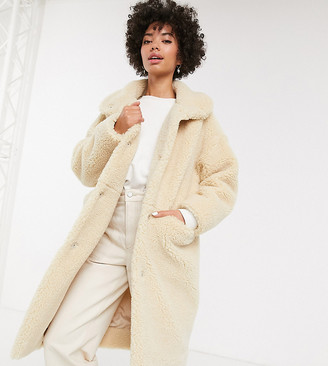 Monki midi teddy coat in off white