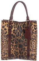 Dolce & Gabbana Leopard Leather-Trimmed Tote