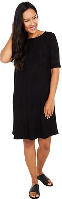 Eileen Fisher Bateau Neck Short Sleeve Dress (Black) Women's Dress