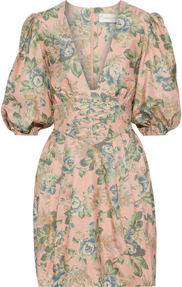 Zimmermann Tempest Lace-up Floral-print Silk-broadcloth Mini Dress