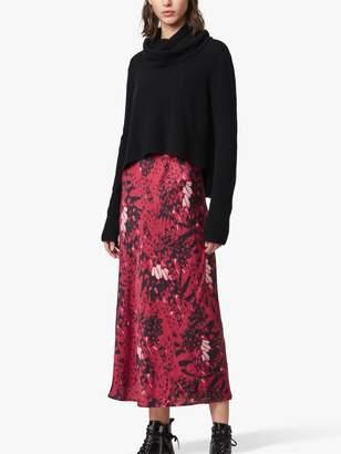AllSaints Tierny Wing Roll Neck Jumper Dress, Black/Pink
