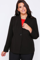 Yours Clothing Black Semi-Fitted Fully Lined Single Button Blazer Jacket