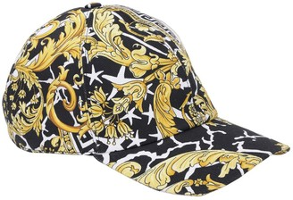 Versace Barocco & Star Print Cotton Baseball Hat