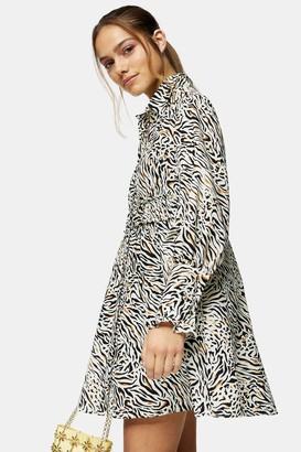 Topshop Womens Petite Natural Print Ruched Shirt Dress - Natural