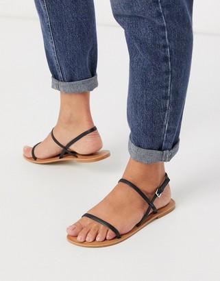 Asos DESIGN Fuse leather flat sandals in black