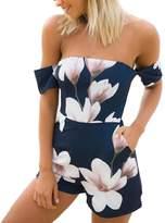 Paixpays Women Off Shoulder Jumpsuits Floral Printed Shorts Romper Boho Beach