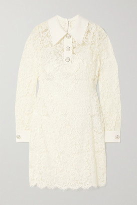 Dolce & Gabbana Crepe-trimmed Corded Lace Mini Dress - White