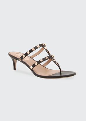 Valentino Rockstud Kitten-Heel Slide Sandals