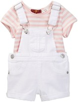 7 For All Mankind Tee & Shortall 2-Piece Set (Baby Girls)