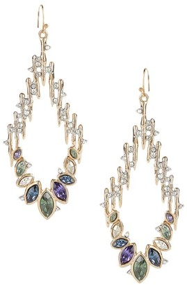 Alexis Bittar Multicolor Navette Crystal-Spiked Teardrop Wire Earrings
