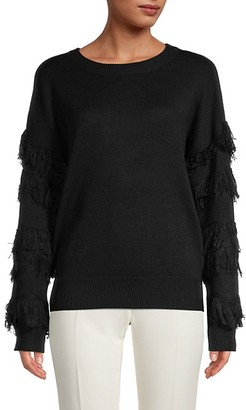 RD Style Fringed-Sleeve Sweater