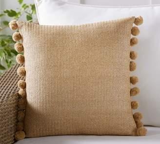 Pottery Barn Indoor/Outdoor Pom Pom Faux Natural Fiber Pillow
