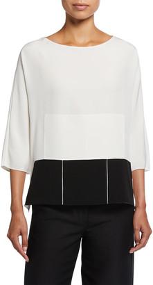 Akris Quadrat Patchwork Elbow-Sleeve Silk Crepe Tunic
