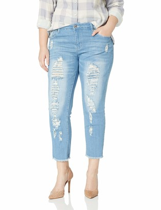 Cover Girl Women's Skinny Jeans Distressed Fray Hem Cropped Step Inseam 15 Junior