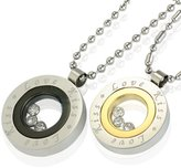 "Dahlia Floating Crystal ""Love Kiss"" Medallion Stainless Steel Pendant Necklace Couples Set 18"" and 24"""