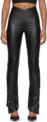 Alexander Wang Black Faux-Leather Side Snap Trousers