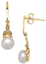 Lord & Taylor 6MM White Freshwater Pearl Diamond and 14K White Gold Drop Earrings
