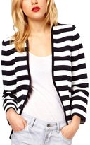 Summerwhisper Women's Contrast Color Striped No Closure Blazer
