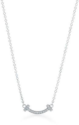 Tiffany & Co. T smile pendant in 18ct white gold with diamonds, micro
