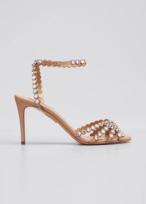 Aquazzura Tequila Mid-Heel Crystal Sandals