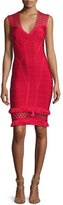 Herve Leger V-Neck Cutout Fringe-Trim Bandage Dress, Red
