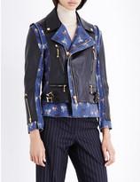 Undercover Cat-trim leather biker jacket
