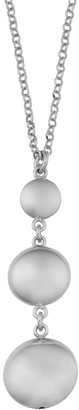 Ssgr3pdrh 18lc Argento Italia Rhodium Plated Sterling Silver Graduated Puff Disc Drop Necklace