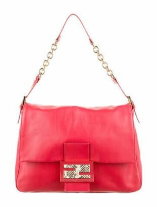 Fendi Mama Forever Python-Trimmed Bag Red