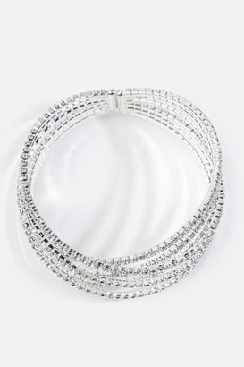 francesca's Catlina Criss-Cross Crystal Cuff - Silver