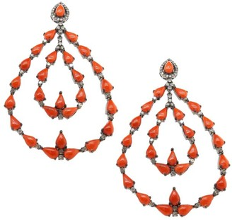 Nina Gilin Black Rhodium-Plated, Coral & Diamond Chandelier Earrings