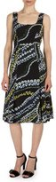 Erdem Tate Suzu-Swirl Sleeveless Dress, Black/Multi