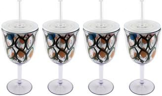 Berghoff CookNCo Set of (4) 13-oz Acrylic Wine Glasses,Circle Pattern