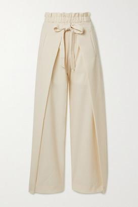 Cult Gaia Naomi Tie-front Wool-blend Wide-leg Pants - Cream