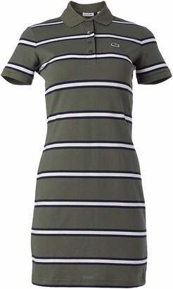 Lacoste Women's Short Sleeve Slim Fit Striped Polo Dress