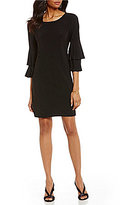 Laundry by Shelli Segal Pleated Flare-Sleeve Shift Dress