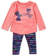 Under Armour Baby Girls 12-24 Months Big Logo Tee & Wordmark-Scripted-Print Pant Set