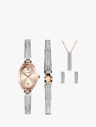 Sekonda 2924G Women's Crystal Bracelet Strap Watch, Bracelet, Necklace and Stud Earrings Jewellery Gift Set, Silver/Rose Gold