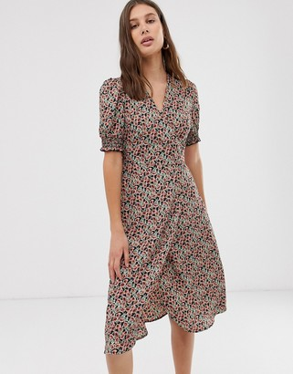 Only floral wrap midi dress with smocked sleeve detail-Black
