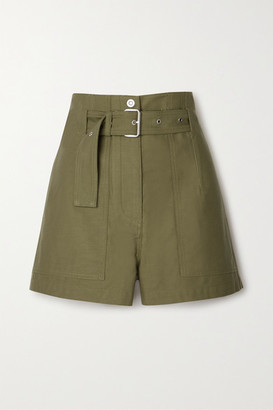 3.1 Phillip Lim Belted Cotton-twill Shorts - Army green