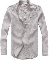 utcoco Men's Classic Banded Collar Long Sleeves Light Linen Shirts