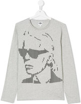 Karl Lagerfeld grapic long-sleeved top - kids - Cotton - 14 yrs