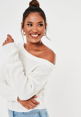 Missguided White Off The Shoulder Knitted Jumper
