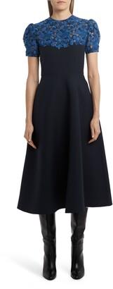 Valentino Lace Yoke Fit & Flare Midi Dress
