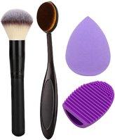 Addfavor 4pcs/set Makeup Set Kit Foundation Oval Brush Makeup Sponge Blender Blush Powder Make up Brushes Contour Brush Cleaner Egg Tools