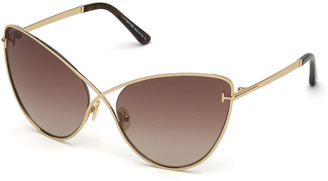 Tom Ford Leila Dramatic Metal Cat-Eye Sunglasses