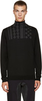 Kolor Black Wool Intarsia Turtleneck