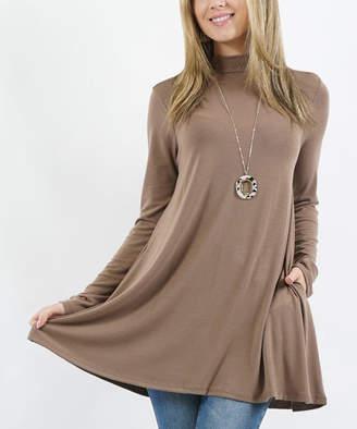 Lydiane Women's Tunics MOCHA - Mocha Mock Neck Long-Sleeve Pocket Tunic - Women & Plus