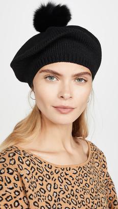 Adrienne Landau Acrylic Knit Beret With Pom